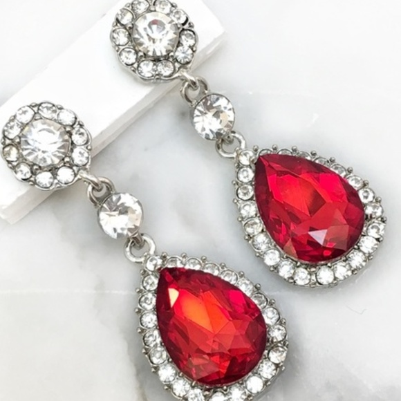 Cherryl's Jewelry - Red Crystal Rhinestone Drop Occasion Earrings